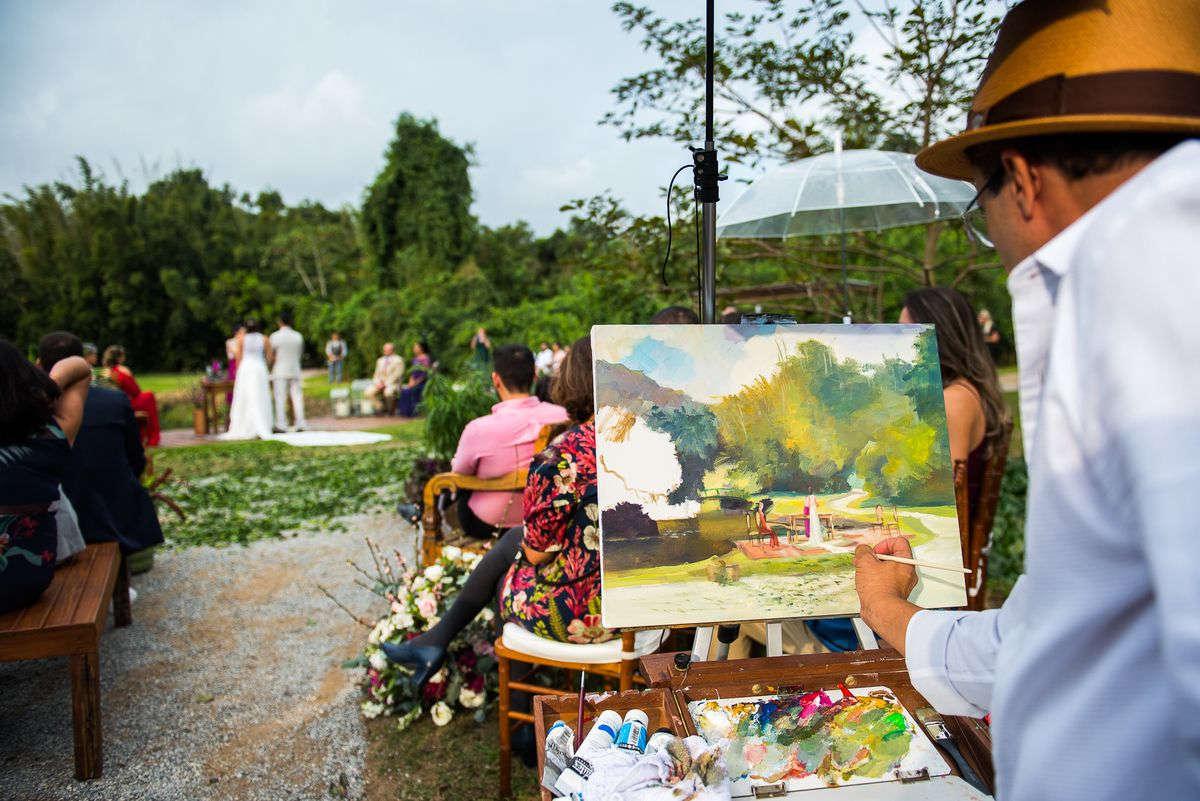 pintura ao vivo na cerimônia do casamento
